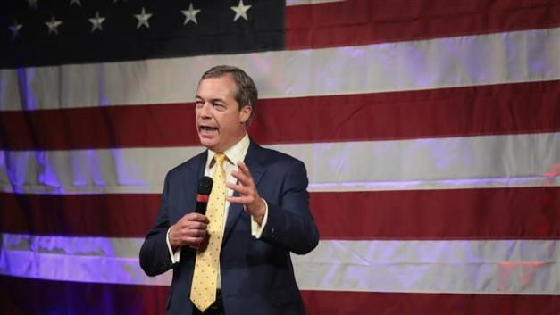 British politician Nigel Farage speaks at a campaign event for Republican candidate for the US Senate in Alabama Roy Moore on September 25, 2017 in Fairhope, Alabama. (Photo by AFP)