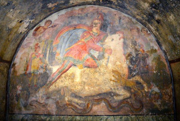 The tauroctony in the Mithraeum at Santa Maria Capua Vetere.