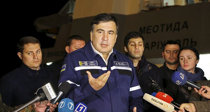 Odessa's governor Mikheil Saakashvili speaks the site of a recovery operation near Odessa, Ukraine, October 17, 2015