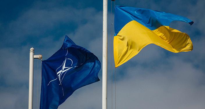 National flag of Ukraine and the NATO flag