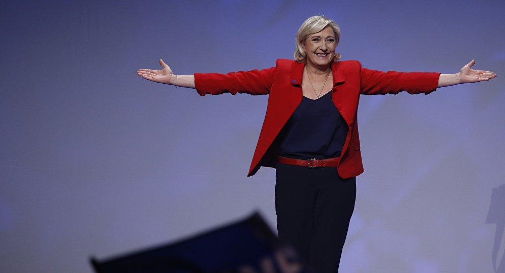 Marine Le Pen, French National Front (FN) political party leader and candidate for French 2017 presidential election, attends a campaign rally in Paris, France, April 17, 2017.