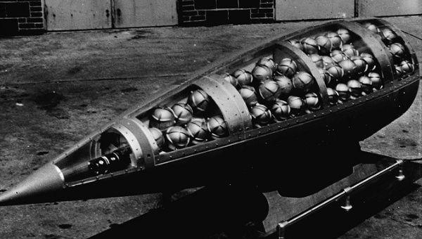 Illustrative photo depicting a U.S. Honest John missile warhead cutaway, revealing M134 Sarin bomblets circa 1960.