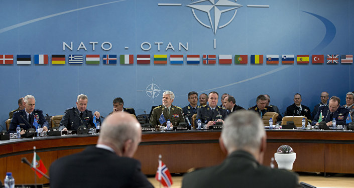 NATO's Chairman of the Military Committee, Czech Gen. Petr Pavel, rear center left, opens a meeting of NATO's Military Committee at NATO headquarters in Brussels (File)