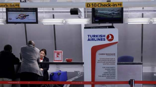 A sign for Turkish Airlines stands near the counters inside of JFK International Airport in New York [File: Lucas Jackson/Reuters]