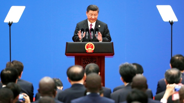 Chinese President Xi Jinping speaks during a news conference after a 2017 forum on developing shipping lanes in the Arctic.