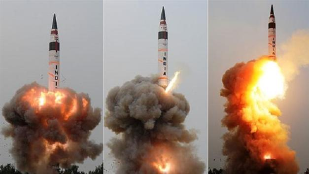 The combo purportedly shows three stages of Agni-5 ICBM launch in India, on December 26, 2016.