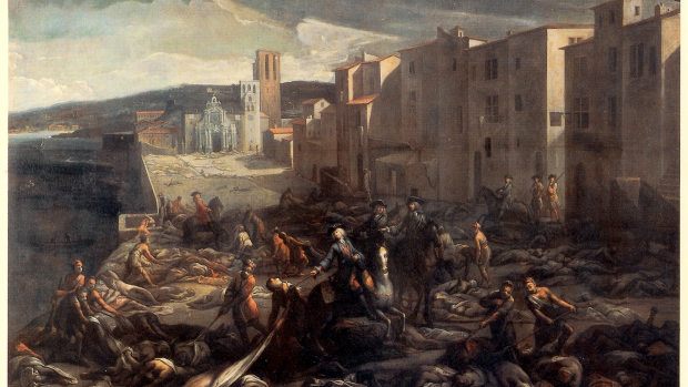 Marseille during the Great Plague of 1720. A study of mortality records for the Black Death in nine European cities seems to indicate human lice and fleas spread the disease.