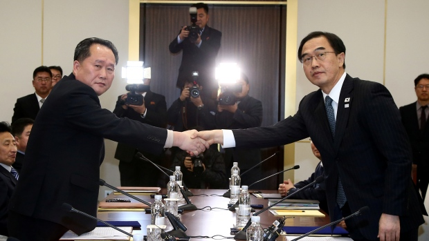 The head of North Korea's delegation, Ri Son Gwon, left, shakes hands with his South Korean counterpart, Cho Myoung-gyon, after their meeting at the truce village of Panmunjom in the demilitarized zone separating the two Koreas, South Korea, on Jan. 9.