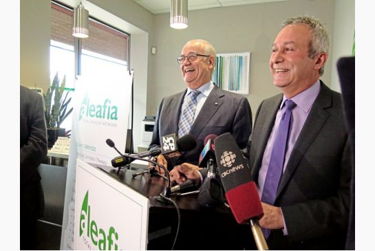 Two former top cops, ex-Toronto police chief Julian Fantino, left, and ex-RCMP deputy commissioner Raf Souccar, look pretty happy about their new weed company.