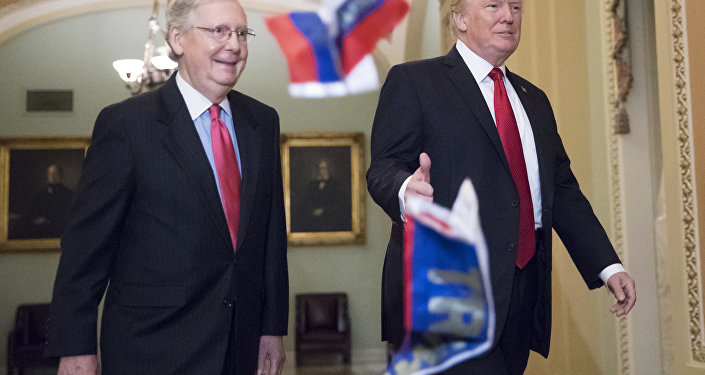 Small Russian flags bearing the word Trump are thrown by a protester toward President Donald Trump, as he walks with Senate Majority Leader Mitch McConnell, R-Ky., on Capitol Hill to have lunch with Senate Republicans and push for his tax reform agenda, in Washington, Tuesday, Oct. 24, 2017