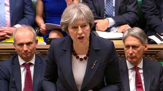 REUTERS/ Parliament TVBritain's Prime Minister Theresa May addresses the House of Commons on her government's reaction to the poisoning of former Russian intelligence officer Sergei Skripal and his daughter Yulia in Salisbury, in London, March 14, 2018