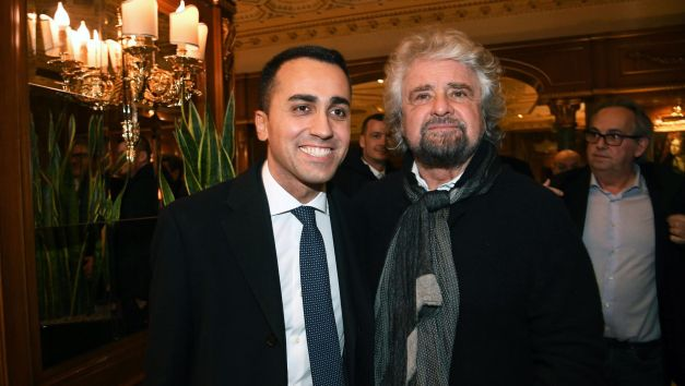 epa06583335 Luigi Di Maio (L), the Italian 5-Star Movement's leader with Beppe Grillo (R) in Rome, Italy, 05 March 2018. The anti-establishment 5-Star Movement (M5S) scored a 'triumph' thanks to 11 million Italians in the 04 March general election and was ready to 'talk to all parties' on its government agenda, Di Maio said. EPA-EFE/ALESSANDRO DI MEO