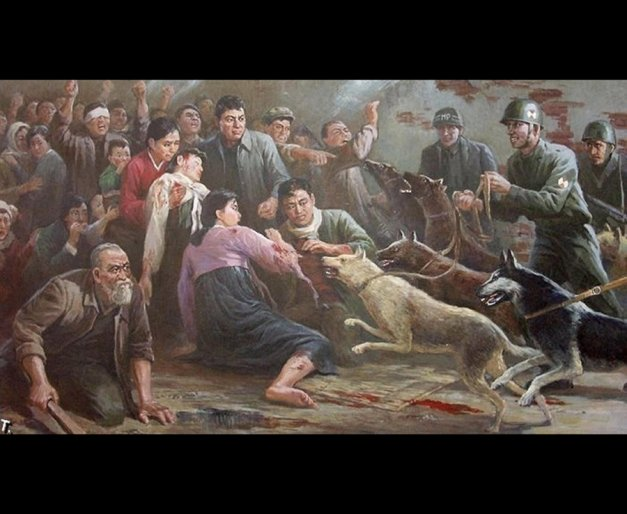 A gruesome propaganda painting produced by North Korea