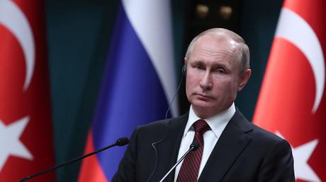 Russian President Vladimir Putin pauses during a news conference in Ankara, Turkey, April 3, 2018 © Umit Bektas