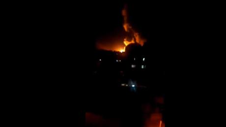 Screenshot of video showing strikes at Damascus
