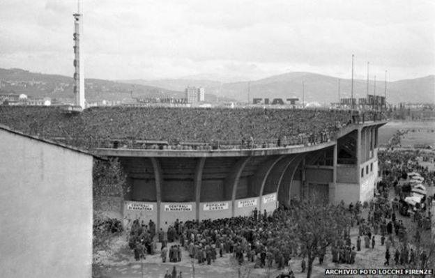 The Stadio Artemi Franchi in 1954, the year the UFOs were sighted