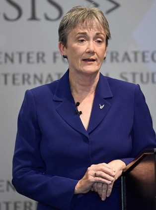 Secretary of the Air Force Heather Wilson speaks about the need to invest in the future of space operations at the Center for Strategic & International Studies in 2017.