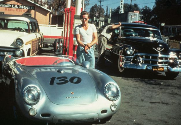 "James Dean At A California Gas Station With His Silver Porsche 550 Spyder, Named ""Little Bastard,"" Just Hours Before His Fatal Crash. September 30, 1955"
