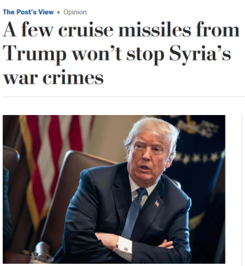 WaPo: A few cruise missiles from Trump won't stop Syria's war crimes