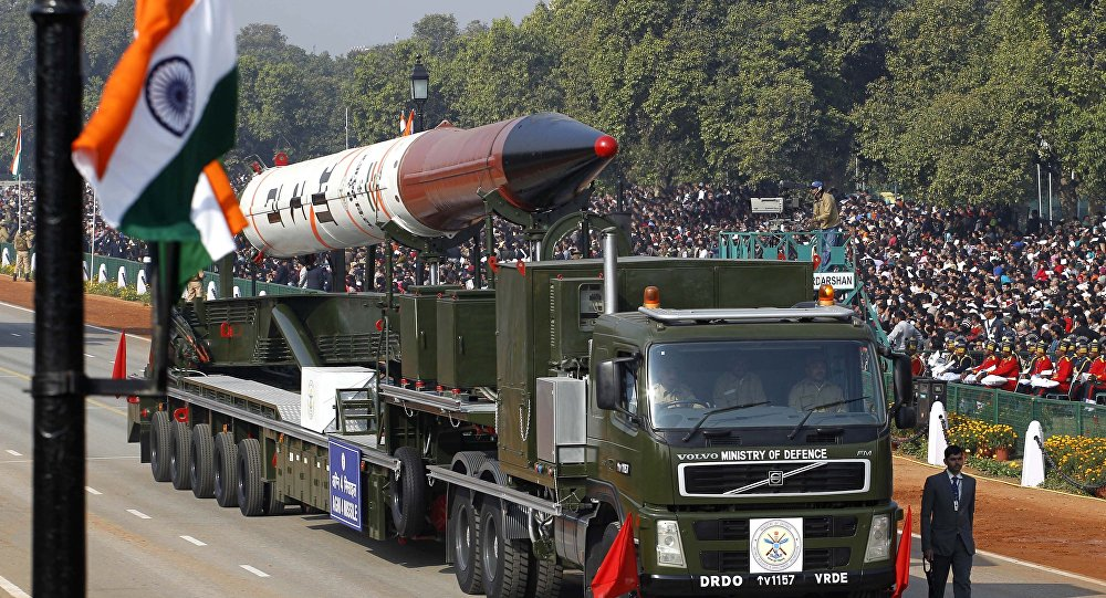 An Agni IV missile capable of carrying nuclear warhead and a range of 2,500-3,500 kilometers is displayed during the main Republic Day parade in New Delhi, India, Thursday, Jan. 26, 2012