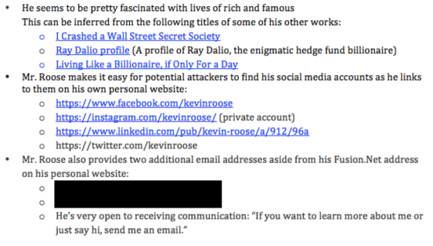 Part of the dossier prepared by the hackers