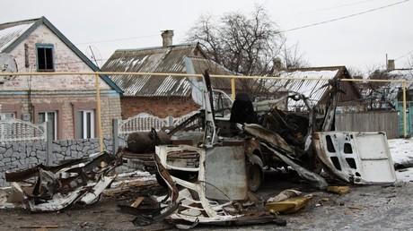A light truck destroyed by a shooting in Dokuchayevsk, Donetsk Region © Sergey Averin