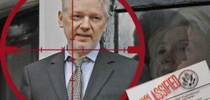 Media silent on dismissal of DNC suit against Julian Assange Under-intense-pressure-silence-wikileaks-secretary-of-state-hillary-clinton-proposed-drone-strike-on-julian-assange-400x192
