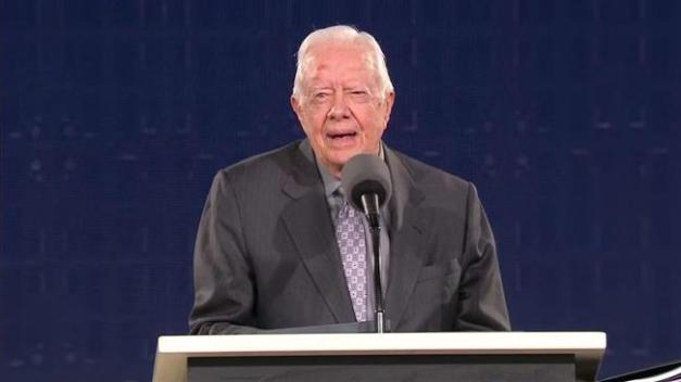 Former US President Jimmy Carter speaks at The Carter Center in Atlanta, Georgia, on Tuesday, July 24, 2018 . (AFP photo)