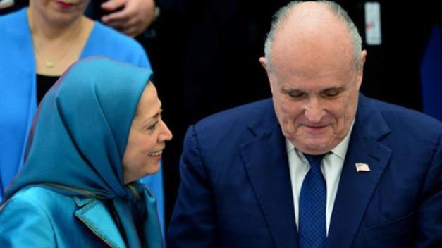 Maryam Rajavi, chief of the MKO terror group (L), and President Donald Trump's personal lawyer Rudy Giuliani