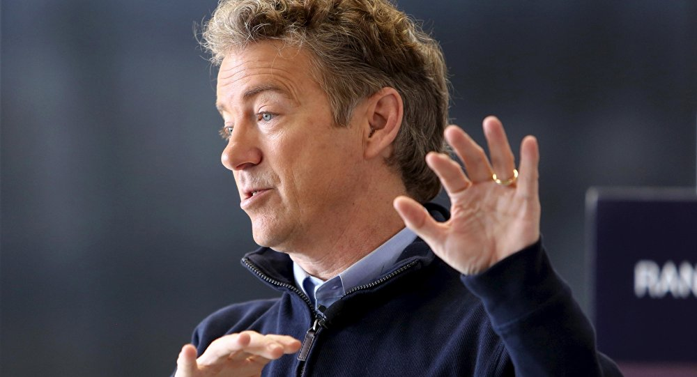 U.S. Republican presidential candidate Senator Rand Paul talks to supporters at a campaign stop at the National Sprint Car Hall of Fame and Museum in Knoxville, Iowa, in this file photo from January 29, 2016