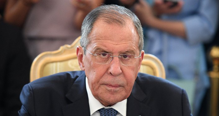 Russian Foreign Minister Sergei Lavrov during talks with Japanese сcounterpart Taro Kono and Japanese Defense Minister Itunori Onodara in the 2 + 2 format.