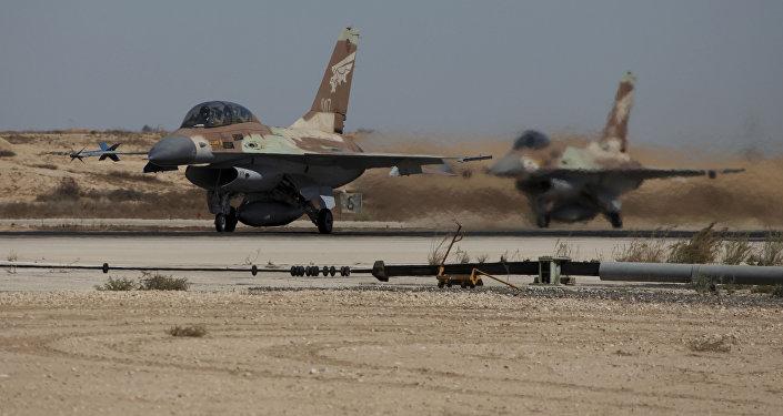 Israeli F-16a warplanes take off at the Nevatim air force base (File)