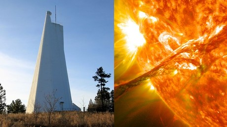 (L) The Sunspot Solar Observatory and (R) a photo of a solar flare captured by the observatory's one-of-a-kind technology.