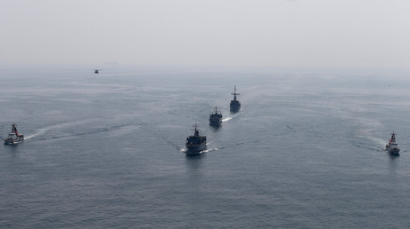 US and UK navy ships are seen conducting Mine Countermeasures Exercise (MCMEX) taking place at Arabian Sea, September 10, 2018. ©Hamad I Mohammed