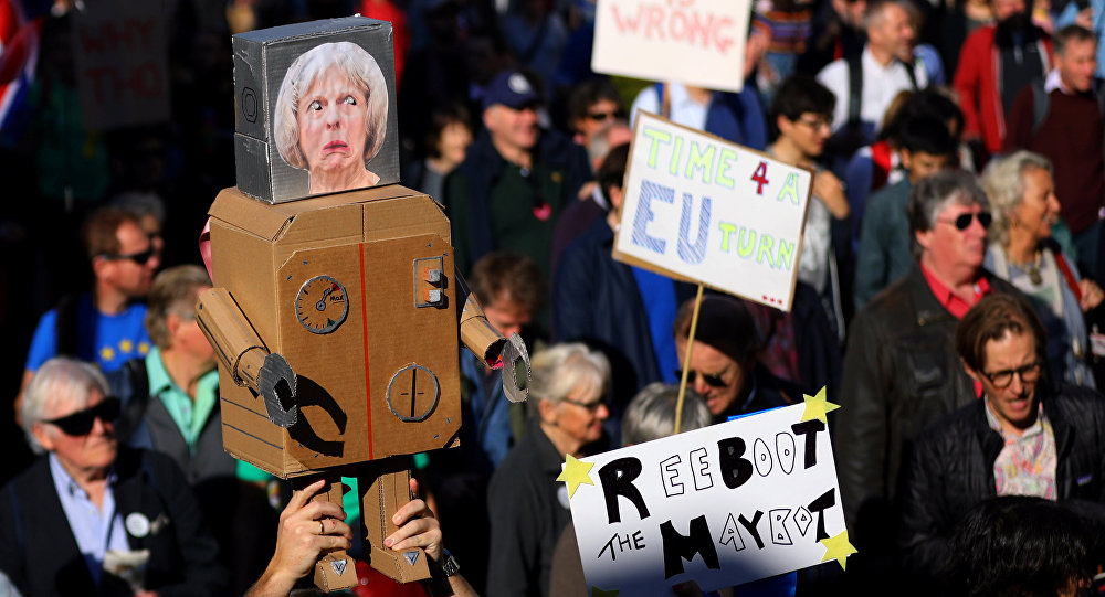 Protesters participating in an anti-Brexit demonstration march through central London, Britain October 20, 2018