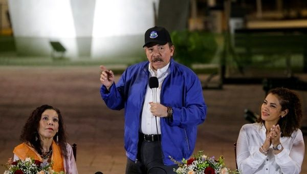 Nicaraguan President Ortega speaks during the opening ceremony of a highway overpass in Managua