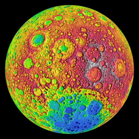 Colored topo image of the far side of the moon from a 2010 image provided by NASA's Lunar Reconnaissance Orbiter