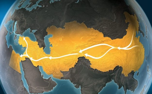 Map of Silk Road: routes connecting Asia to Europe