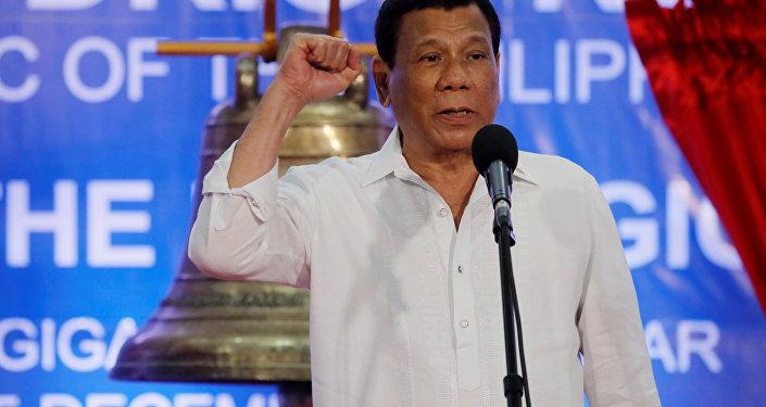 President Rodrigo Duterte speaks at a ceremony marking the return of the three Balangiga bells