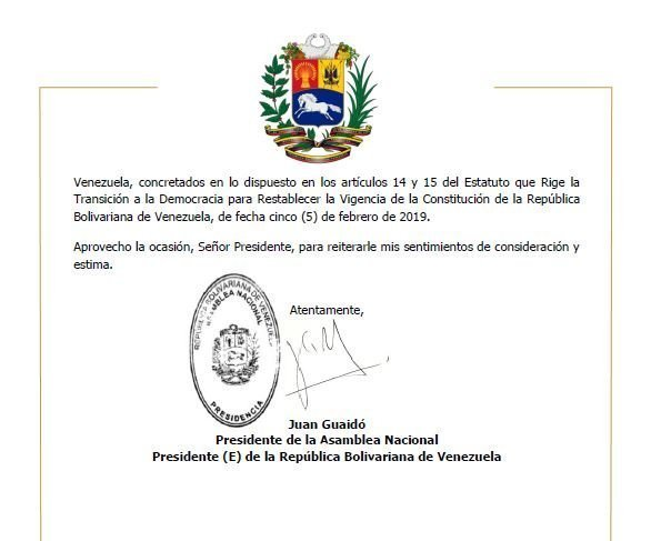 Letter by Guaido's staff sent to pranksters.