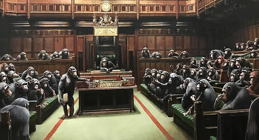 BANKSY Publishes Artwork With UK House of Commons MPs as Chimpanzees 1073650087