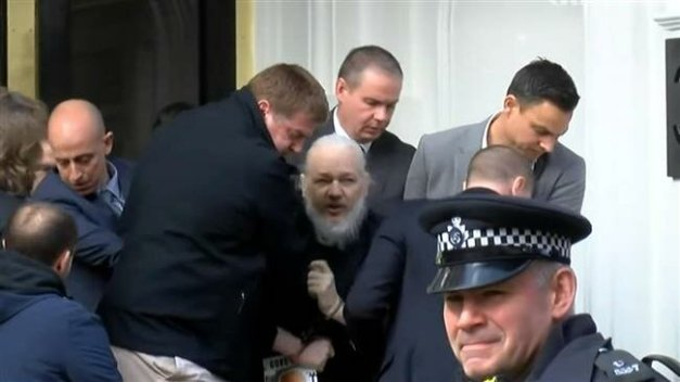 Julian Assange was arrested after Metropolitan Police officers entered the Ecuadorian embassy on April 11 2019.