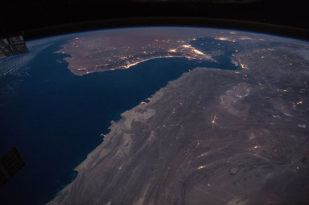 Coast of Oman, including Strait of Hormuz. (International Space Station photo from 2016 via Wikimedia)