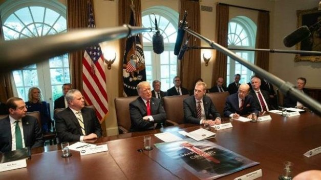 US President Donald Trump addresses a cabinet meeting at the White House on January 2, 2019.