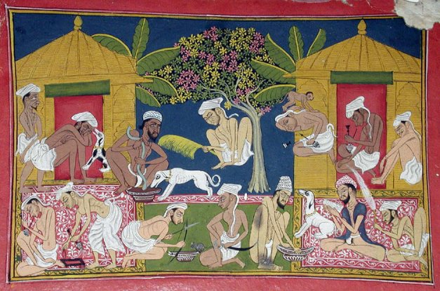 In the 1790 painting <em>Bhang Eaters Before Two Huts</em>, by Pemji, a group of men mix and consume bhang.
