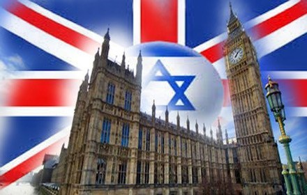 UK parliament against the background of the Israeli flag