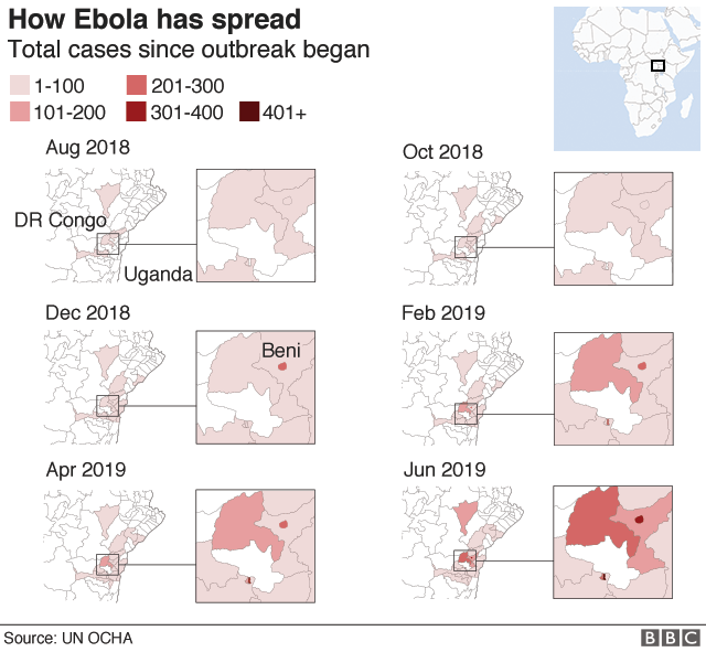 Maps showing the spread of Ebola in DR Congo