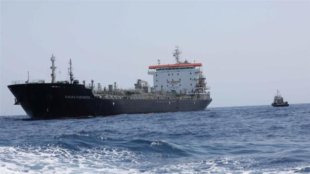 A general view of Japanese-owned Kokuka Courageous tanker off the coast of Fujairah, the United Arab Emirates on June 19, 2019 [Reuters/Abdel Hadi Ramahi]