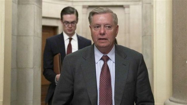 US Senator Lindsey Graham leaves after meeting with Speaker of the House Representative Nancy Pelosi on June 27, 2019 at the US Capitol in Washington, DC. (Photo by AFP)
