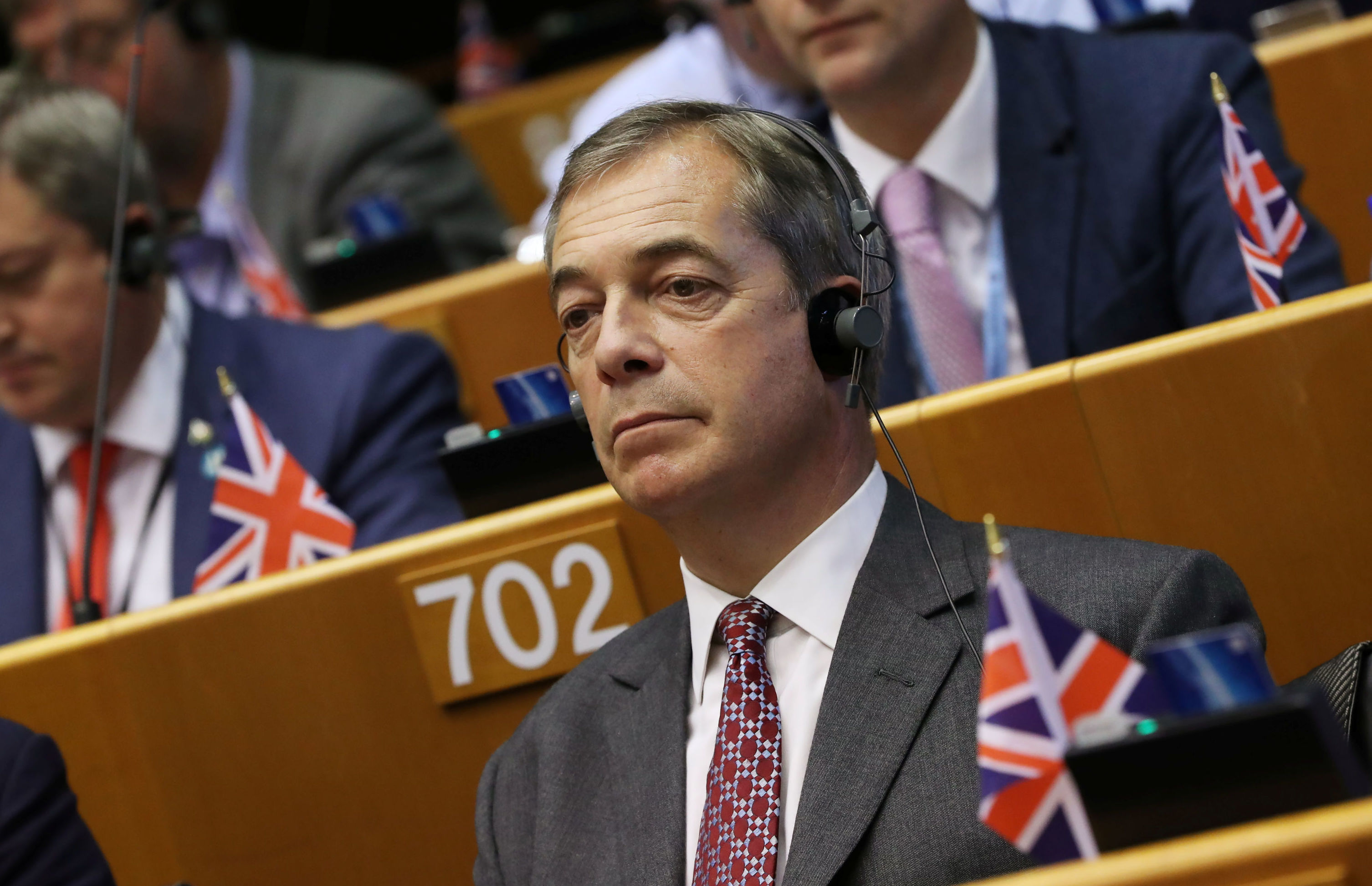 Britain's Brexit Party leader Nigel Farage attends a plenary session on preparations for the next EU leaders' summit, at the European Parliament in Brussels, Belgium October 9, 2019